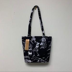 La Regal Black, White Beaded Mini Handbag